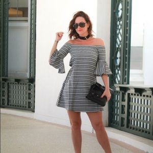 Bell sleeve strapless dress